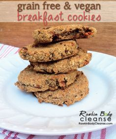 Grain Free Vegan Breakfast Cookies on http://www.rawkinbodycleanse.com