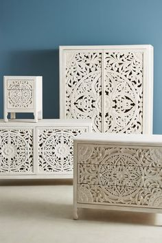 Slide View: Lombok Three-Drawer Dresser - a little much altogether, but each piece individually - beautiful. Unique Bedroom Furniture, Hanging Furniture, Furniture Design, Wood Furniture, Indian Furniture, Furniture Movers, Furniture Storage, Furniture Ideas, Three Drawer Dresser