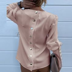 Work Wear Women Blouses Long Sleeve Back Metal Buttons Shirt - Winter Outfits Trend Fashion, Fashion Outfits, Club Fashion, 1950s Fashion, Fashion Black, Emo Fashion, Fashion Women, Work Blouse, Shirt Blouses