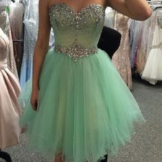 Sweetheart Neck Strapless Beaded Mint A-line Homecoming Dresses,Hot 65