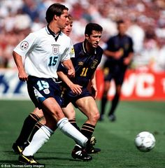 England 2 Scotland 0 in 1996 at Wembley. Jaime Redknapp plays the ball inside in Group A at Euro David Seaman, Euro 96, Jamie Redknapp, John Collins, England National, England Football, National Football Teams, Retro Football, European Championships