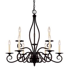 Shandy 29.25-In 9-Light English Bronze Candle Chandelier 20202780