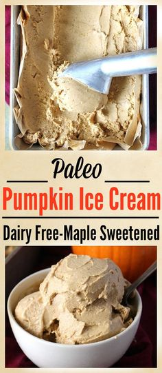 Paleo Pumpkin Ice Cream- 6 ingredients, easy, and so delicious! Dairy free, gluten free, and naturally sweetened.