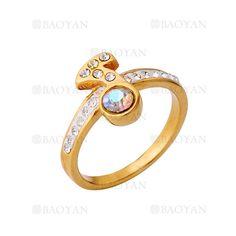 anillo de musica nota estilo brillante en acero dorado inoxidable para mujer -SSRGG161939