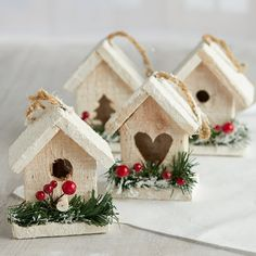 Snowy Birdhouse Ornament Set - Christmas Ornaments - Christmas and Winter - Holiday Crafts : Snowy Birdhouse Ornament Set - Christmas Ornaments - Christmas and Winter - Holiday Crafts House Ornaments, Diy Christmas Ornaments, Rustic Christmas, Holiday Crafts, Christmas Decorations, Holiday Decor, Winter Holiday, 1950s Christmas, Christmas Centerpieces