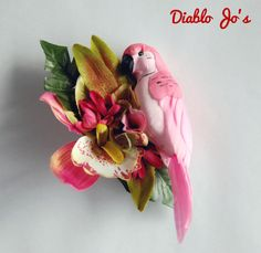 Pink Parrot Tropical Hair flower, Rockabilly, Alternative hair, Pin Up by DiabloJos on Etsy