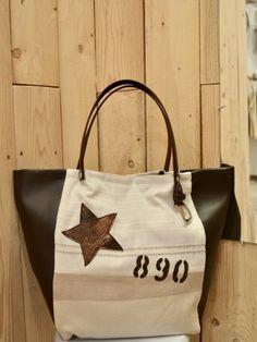 b1def3990f Sac a main cabas motif étoile lettre numéro toile rayée blanche tissu  rayures beige simili cuir
