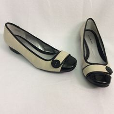 Off white flats. Off white. Leather upper. Patent leather button detail flats. So beautiful. minor scuffs. Please see pictures carefully and ask as many questions as you want. More pictures are available in a separate listing. Bandolino Shoes Flats & Loafers
