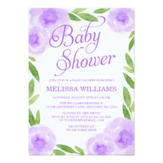 Purple Watercolor Floral Leaf Girl Baby Shower Card