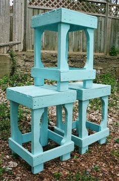 "Having the husband make these for the kids at our ""bar"" in the kitchen today. I'll paint them once he's finished. =) Pallet Bar Stools 