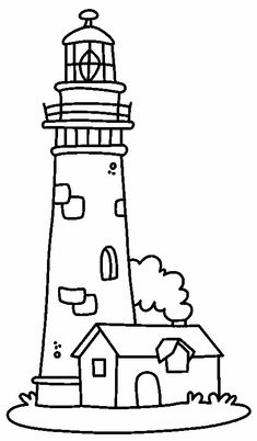 Drawings of lighthouse. Pictures of lighthouse in the sea for coloring. Coloring Pages To Print, Free Coloring Pages, Coloring Books, Printable Coloring, Lighthouse Drawing, Lighthouse Pictures, Stained Glass Patterns, Applique Patterns, Digital Stamps
