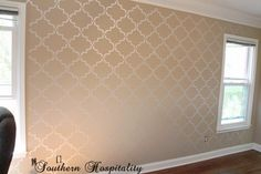 great tutorial on using a paint stencil on an entire wall. can't wait to try this.