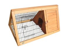 Triangular Rabbit Hutch with Run - Separate sleeping and shelter compartment. Strong ridge cap. Size 100 x 62.1 x 52.5cm - http://www.greenjem.co.uk/pet/triangular-rabbit-hutch-with-run-product
