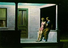 """Edward Hopper (1882-1967) is widely acknowledged as the most important realist painter of twentieth-century America. But his vision of reality was a selective one, reflecting his own temperament in the empty cityscapes, landscapes, and isolated figures he chose to paint. His work demonstrates that realism is not merely a literal or photographic copying of what we see, but an interpretive rendering. (edwardhopper.net)  (""""Summer Evening"""" by Edward Hopper)"""