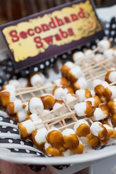 """""""Secondhand Swabs"""" - Caramel dipped mini marshmallows with toothpicks...+ MORE Halloween party food ideas!  http://bit.ly/Lashnv <~ #LASHOUT"""