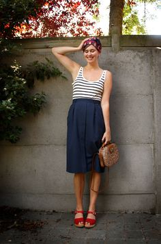 Nautical Turban, Summer Outfits, Cute with Lotta Clogs. Lotta Clogs, Pretty Outfits, Cute Outfits, Clogs Outfit, Looks Style, My Style, Pin Up, Love Fashion, Womens Fashion
