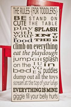 Toddler Rules  Wooden Subway Art Board  Nursery by vinylcrafts, $55.00