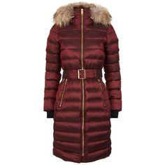 Burberry Raccoon Fur Trim Puffer Coat (6,050 ILS) ❤ liked on Polyvore featuring outerwear, coats, red puffer coat, puffy coat, burberry, red puffy coat and burberry coat