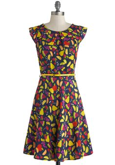 Cabana Cocktails Dress - Blue, Multi, Novelty Print, Cutout, Belted, Party, Fruits, A-line, Scoop, Summer