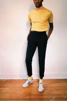 Men's Fashion Yellow turtleneck | Jvrrètt Apparel