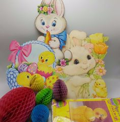 Easter Decoration Cut Out Honeycomb Tissue Chick Bunny Rabbit Hallmark Lot 9 Egg