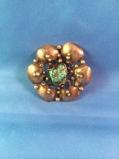 Mary Gage. Arts and Crafts silver and turquoise brooch. View 1.