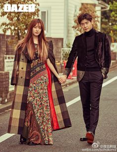 """The chemistry between Lee Jong Suk and Han Hyo Joo during their drama """"W – Two Worlds"""" must have enticed Dazed & Confused to pair them up again for their November issue and ne… Han Hyo Joo Lee Jong Suk, Joo Sang Wook, Lee Jung Suk, Asian Actors, Korean Actresses, Korean Actors, Chanyeol, Kyungsoo, W Korean Drama"""