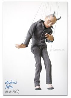 Lalka portretowa, lalka artystyczna, portret rosyjskiego prezydenta Putina jako diabła autorka Bea Ihnatowicz. Vladimir Putin as a Devil! :P