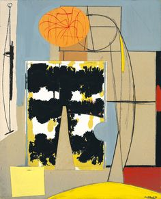 """ Robert Motherwell (1915-1991), Figure with Blots (1943), oil, ink, crayon, and pasted paper and Japanese paper on paperboard. """