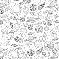Vector illustration of space theme with planets, stars and rocket. Vector illustration of space theme with planets, stars and rocket in black and white doodle cartoon Stock Vector - 58537915 Space Drawings, Doodle Drawings, Easy Drawings, Black And White Doodle, Black And White Drawing, Star Doodle, Doodle Art, Planet Drawing, Rocket Tattoo