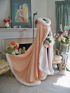 Victorian Bridal cape 62 inch wedding cloak Peach / Ivory Satin with fur trim Handmade in USA Wedding Cape, Wedding Jacket, Bridal Cape, Wedding Blush, Pretty Dresses, Beautiful Dresses, Long Flowers, Hooded Cloak, Fantasy Gowns