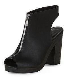 Black Zip Front Peep Toe Heels    New Look