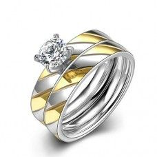 Jewellery Stores Womens 360L Stainless Twill Texture Two Layer Rings TGR065-A