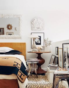 White, wood, masculine, artsy bedroom