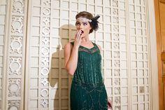 Unique Vintage 1920s Style Green Claudette Fringe Beaded Flapper