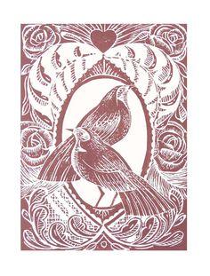 Love Birds Original Lino Cut Print Sepia Pink