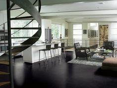 salón con cocina de diseño moderno