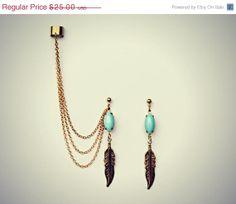 BLACK FRIDAY SALE blue feather ear cuff and by alapopjewelry, $21.25
