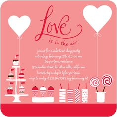 In The Air   Valentineu0027s Day Party Invitations   Petite Alma   Wild  Strawberry   Pink : Front