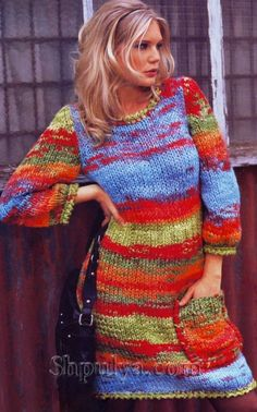 Платье-баллон с карманом, вязаное спицами
