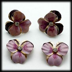 Vintage Pansy Earrings and Scatter Pin Set Purple and Pink with Rhinestone by CATISFACTION a Ruby Lane Shop