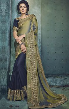 cf1d195946cd9 Shop this art silk navy blue designer half n half saree for festival and  wedding.
