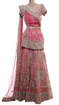 Beautiful Bridal Pink Embroidered Lehenga by Raakesh Agarvwal £ 7500, $12120 @ http://StrandofSilk.com/