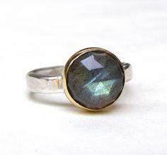 Birthstone Labradorite ring 14k yellow gold ring by OritNaar, $89.00