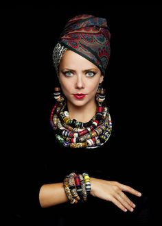 African inspired attire and headwrap - Turban - Ethnic Fashion, African Fashion, Womens Fashion, African Style, Ankara Fashion, African Women, African Jewelry, Ethnic Jewelry, Jewellery