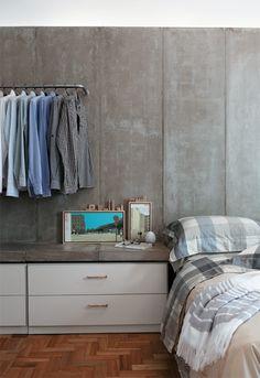 cimento queimado na parede do quarto #decor #bedrooms #quartos