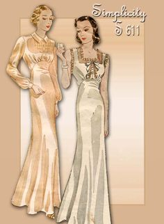 1930s Lingerie Pattern Simplicity S 611 Two Different Styles for Sexy Slinky Nightgowns
