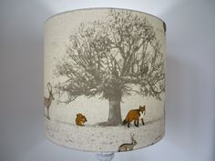 BEAUTIFUL DRUM LAMPSHADE - Tatton fabric (woodland animal) by LoveYourLampshade on Etsy