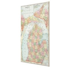 Vintage Map of Michigan (1901) 2 Canvas Print