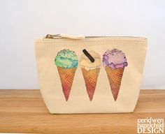 Ice Cream Canvas Zip Purse Makeup Bag Coin Purse by ceridwenDESIGN
